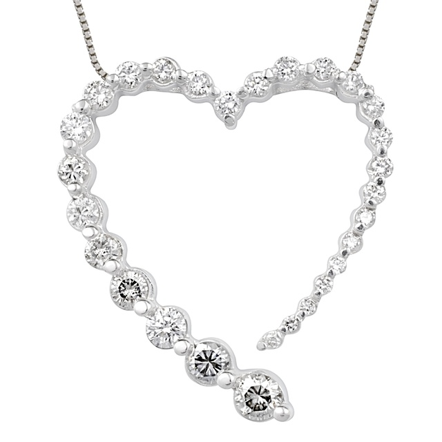 Graduated Diamond Heart Shaped Pendant