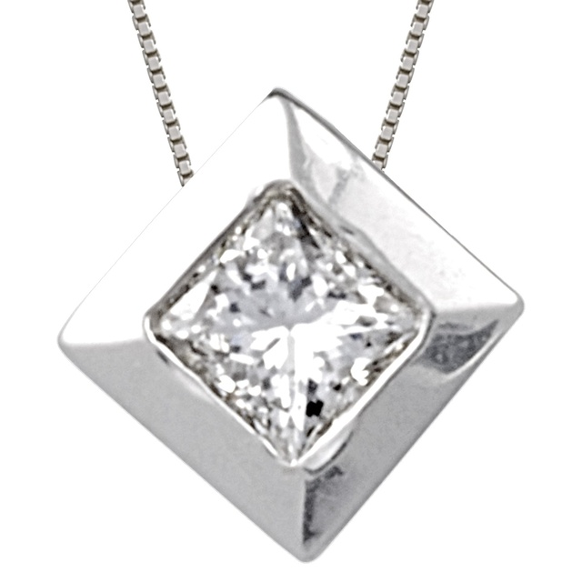 Bezel Set Princess Cut Diamond Pendant