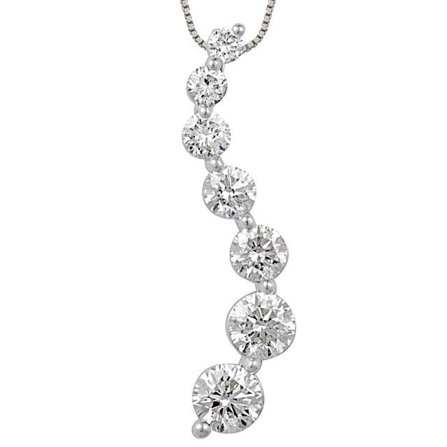 7 Diamond Curved Journey Diamond Pendant
