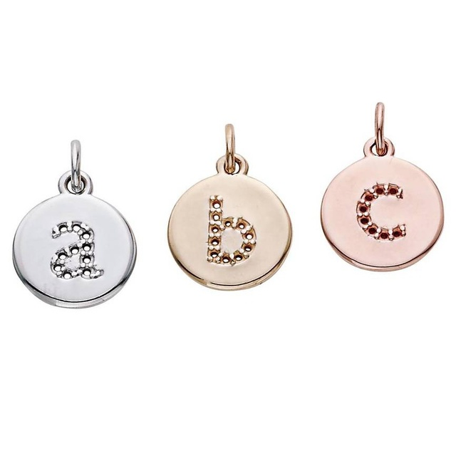 Lowercase Letter Diamond Pendants