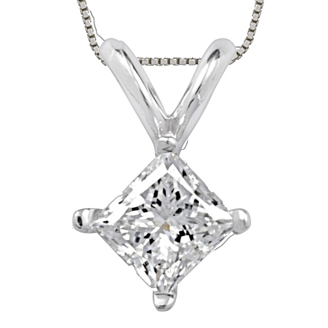 4 Prong Princess Cut Stud Pendant