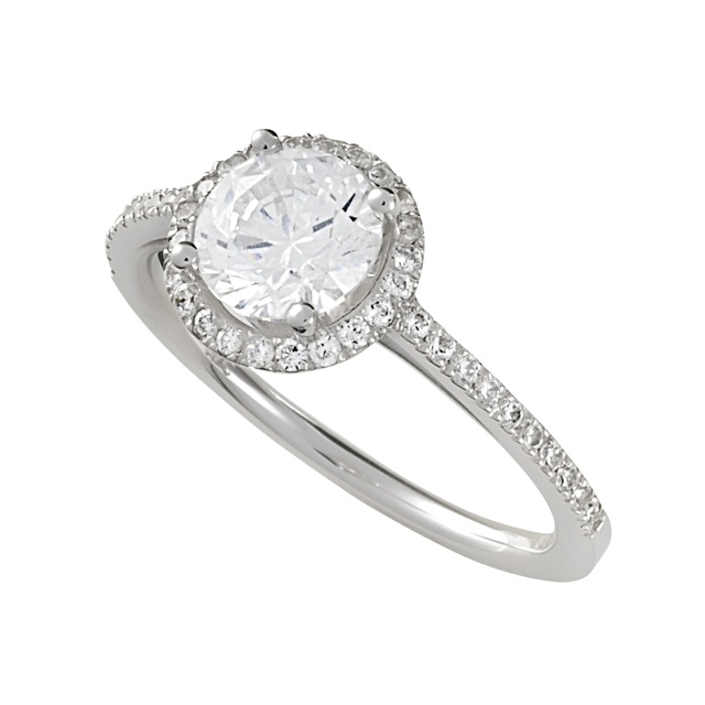 Lady's Round Diamond Halo Semi Mount