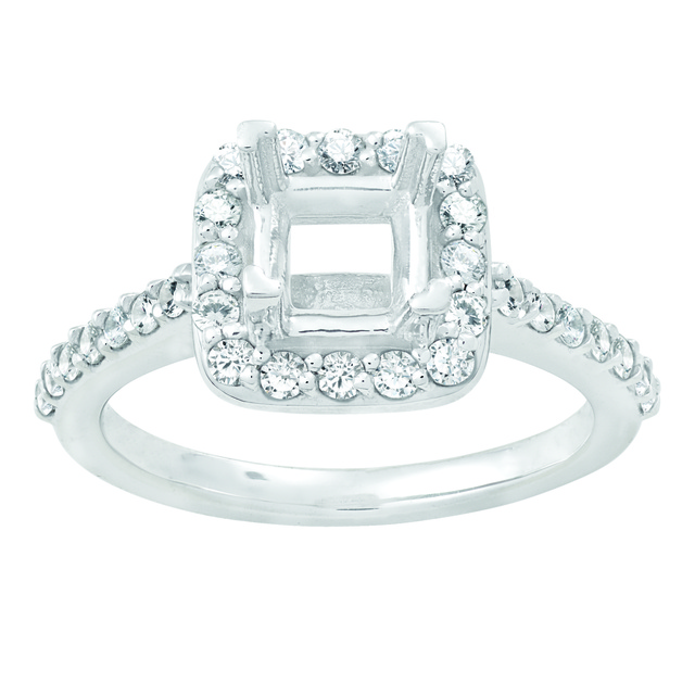 Lady's Cushion Shaped Halo Semi Mount Ring to hold Princess Cut Diamond