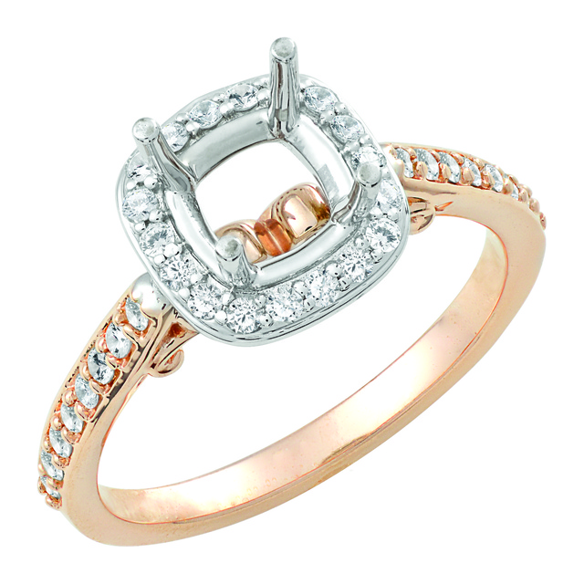 Lady's Diamond Halo Engagement Ring for Cushion Cut Diamond