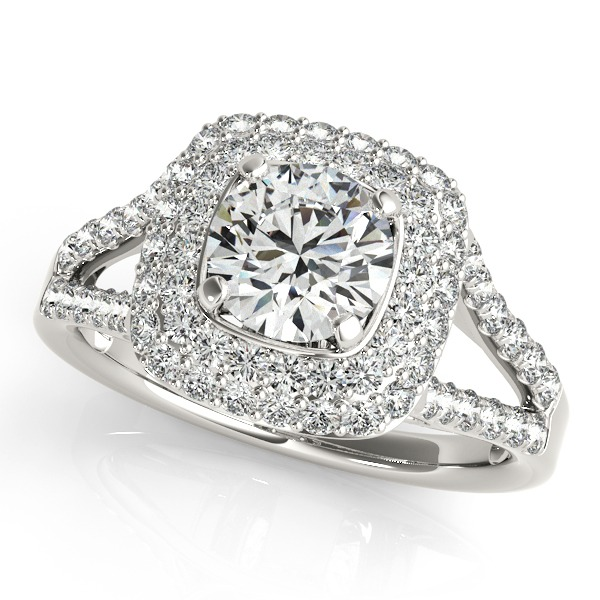 Diamond Halo Semi Mount to Hold 1.00CT Round Diamond