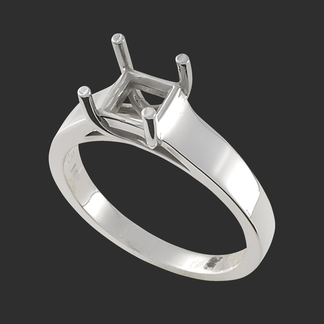 Lady's Cathedral Princess Cut Solitaire Mounting