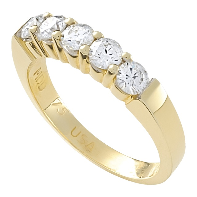 5 Diamond Shared Prong Wedding Ring