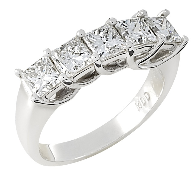 5 Princess Cut Diamond Wedding Ring